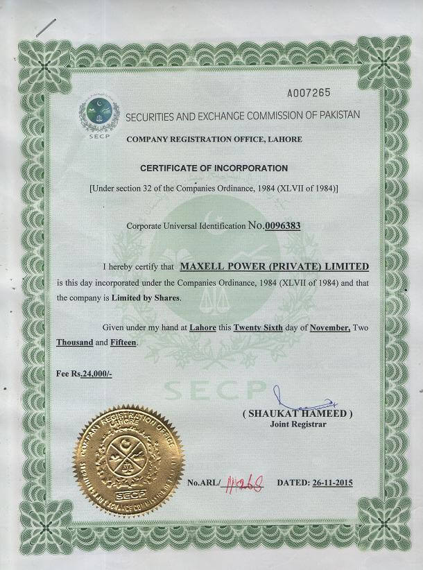 Maxpower Certificate of Incorporation