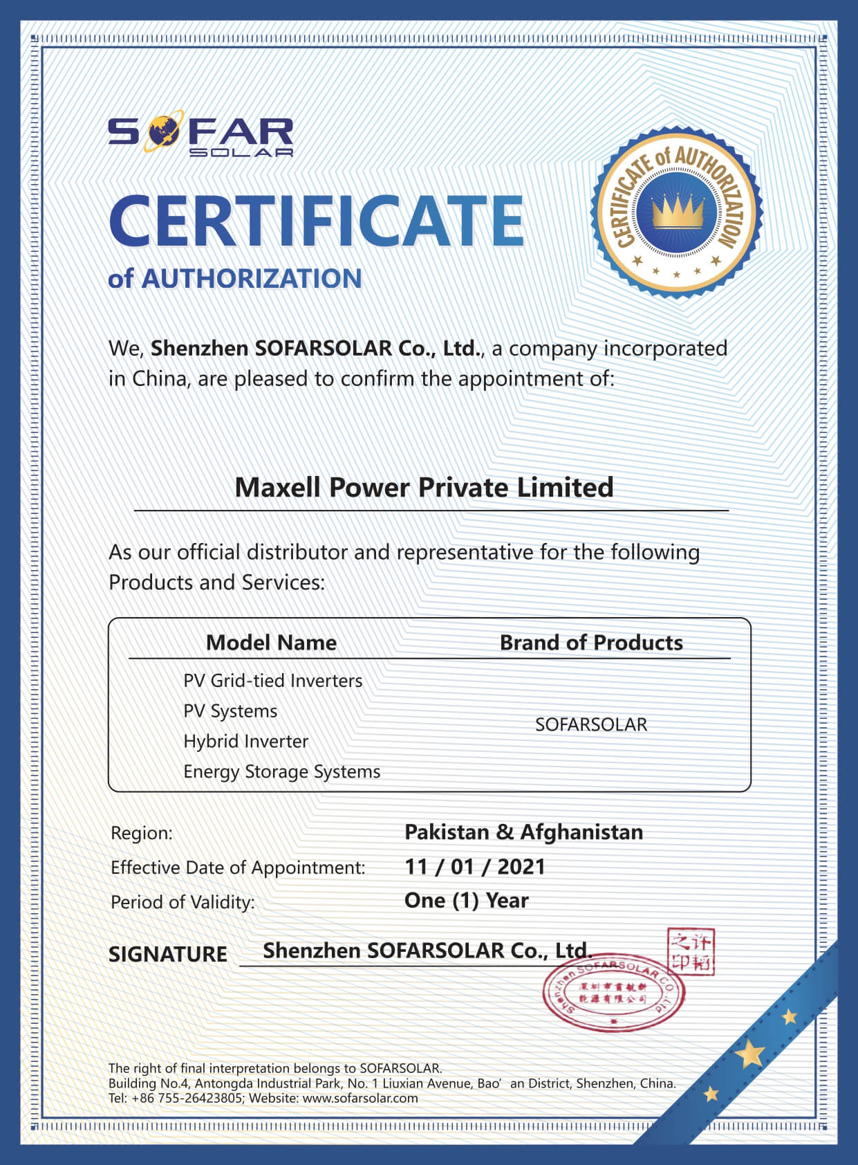 Certificate OF Authorization_Maxell Power Private Limited_page-0001
